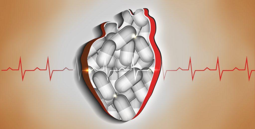 počítačová grafika srdca s vyobrazením liekov